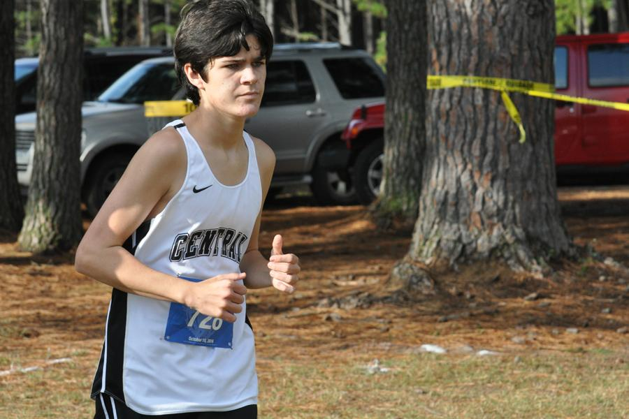 Freshman Carson Whaley runs at the cross country meet in Conway on Oct. 15, competing against runners from schools around central Arkansas.