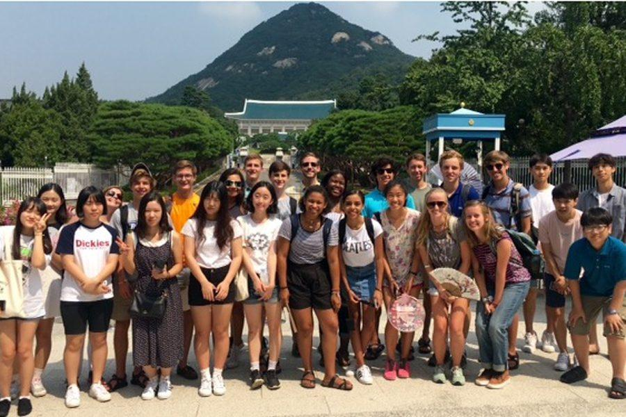Students and their host families visit Blue House,  South Korea's equivalent to the White House, where the president lives.