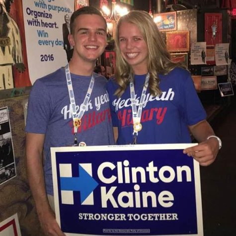 Seniors CJ Fowler and Elizabeth Kimbrell celebrate Hillary Clinton's campaign at a debate watch party sponsored by the Democratic Party of Arkansas.
