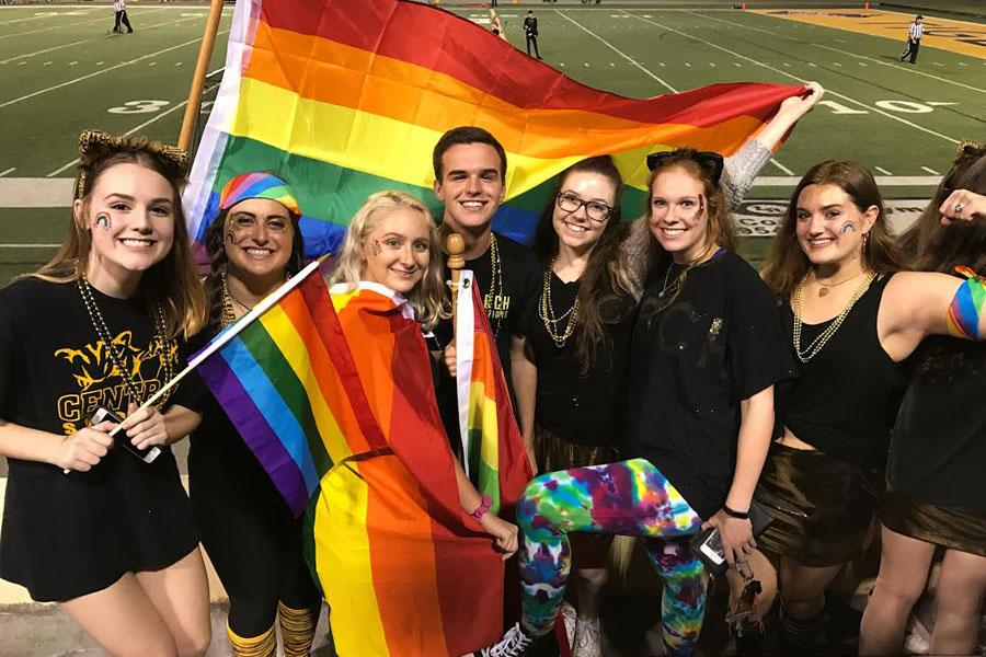 Juniors Natalie Smith, Annie Knight, Sophie Ryall and Caroline Tackett, along with seniors CJ Fowler, Lauren Porter and Jordan Shepherd, sport rainbow apparel to show their solidarity and support for the LGBT community.
