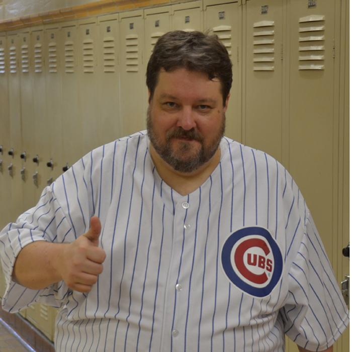 One+for+the+books%3A+U.S.+History+teacher+Chuck+West+sports+his+Cubs+jersey+following+the+Chicago-based+team%27s+win+at+the+World+Series.