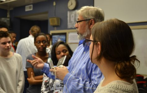 Physical science teacher Kim Burleson's students look on as Dr. Noor Akhter from UAMS demonstrates an on-the-go ultrasound machine on Wednesday, Jan. 18.