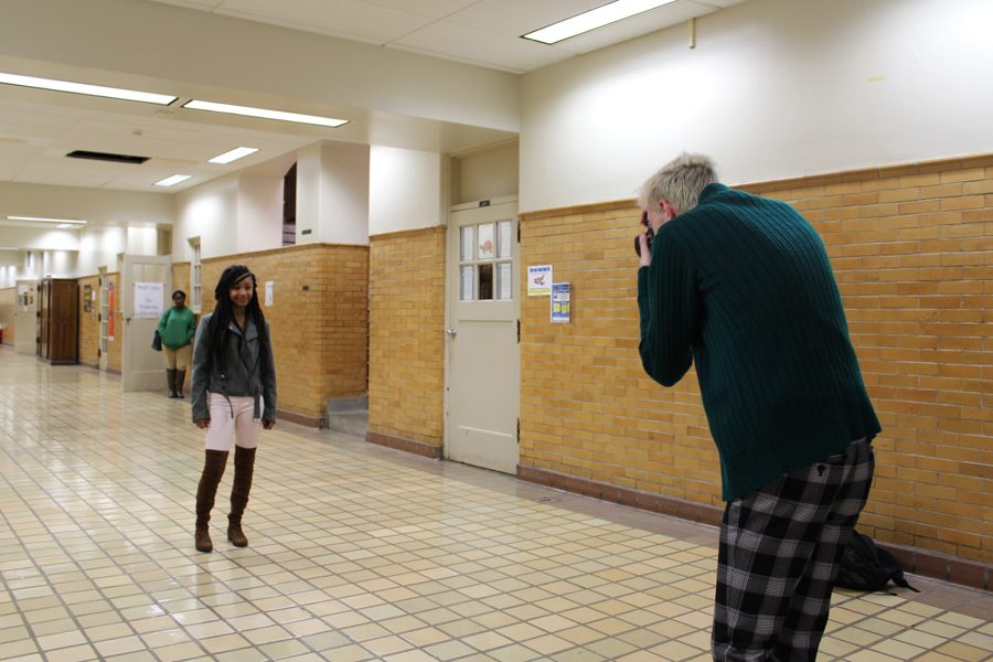 Freshman Mckenzie Fostier gets her picture taken by junior Carter Rideout on Wednesday, Jan. 11. The pictures were used for homecoming court nominations, and students can cast their vote through Wednesday, Jan. 18.