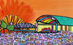 This cartoon of the First Security Ampitheater stage shows the vibrancy and excitement Little Rock teens associate with Riverfest. Read the center spread of the Tiger's upcoming fourth print issue for more information on summer music concerts and festivals like this one.