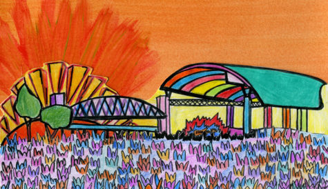 This cartoon of the First Security Ampitheater stage shows the vibrancy and excitement Little Rock teens associate with Riverfest. Read the center spread of the Tiger
