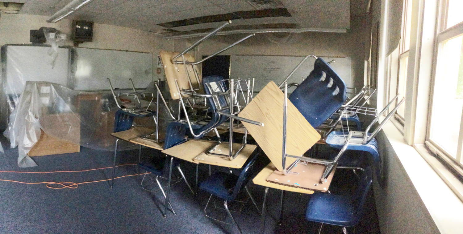Misplaced desks, damp floors, and skewed plastic tarps are clear results of the damages visible in AP Psychology teacher Stanley Pryor's room (photo courtesy of Stanley Pryor).