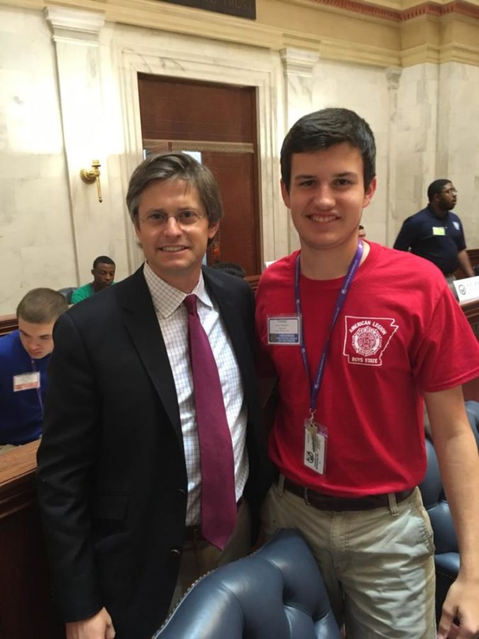 Senior Connor Bierbaum meets Senator Will Bond at the State Capital. Connor was a member of the Boys State Senate. (Photo Courtesy of Connor Bierbaum)