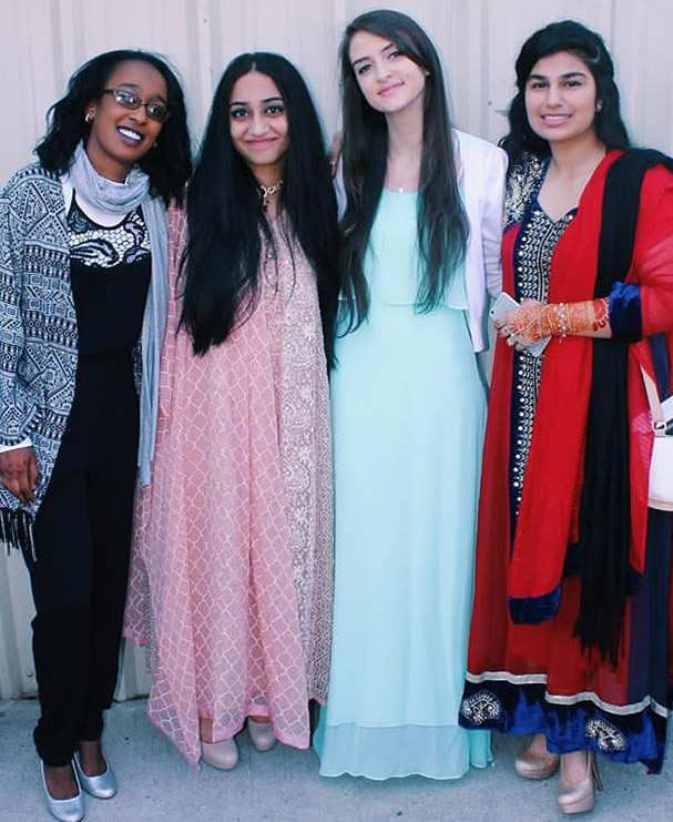 "Senior Aaliyah Orloff and her three other friends dressed to the nines for Eid. ""It's customary to dress really nicely on Eid. We planned to get a picture since we all dressed up,"" Aaliyah said. After spending time at the mosque, they all went out to eat to celebrate the end of Ramadan."