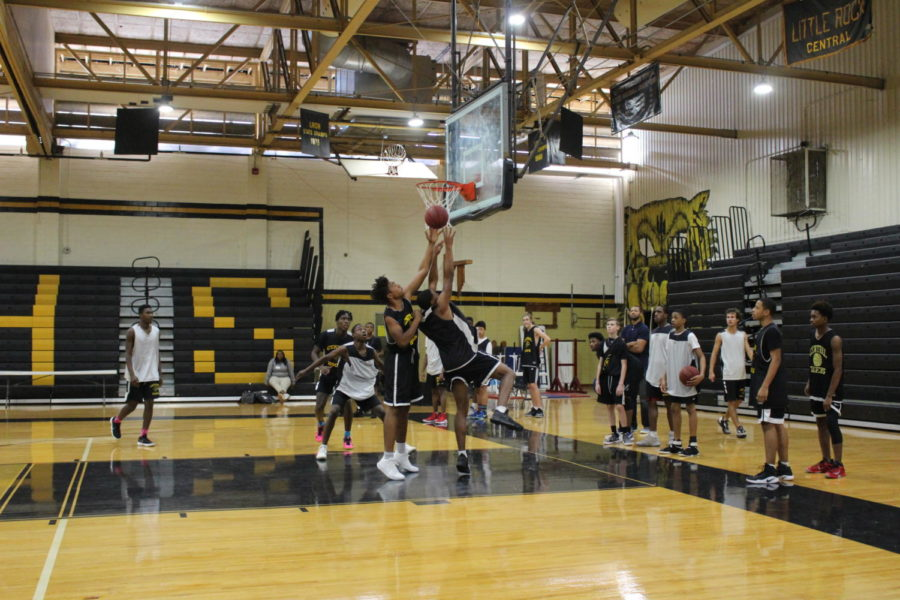 Junior Dajun Brewer goes up for a layup as the Central basketball team prepares for the upcoming season during after school practice by running drills and scrimmaging. The season opener is November 16 at Forrest City. (Photo by Annalise Novicky)