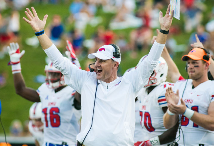 New+Razorback+head+coach%2C+former+SMU+head+coach+celebrates+a+win+from+SMU.+%28Photo+courtesy+of+Saturday+Down+South%29