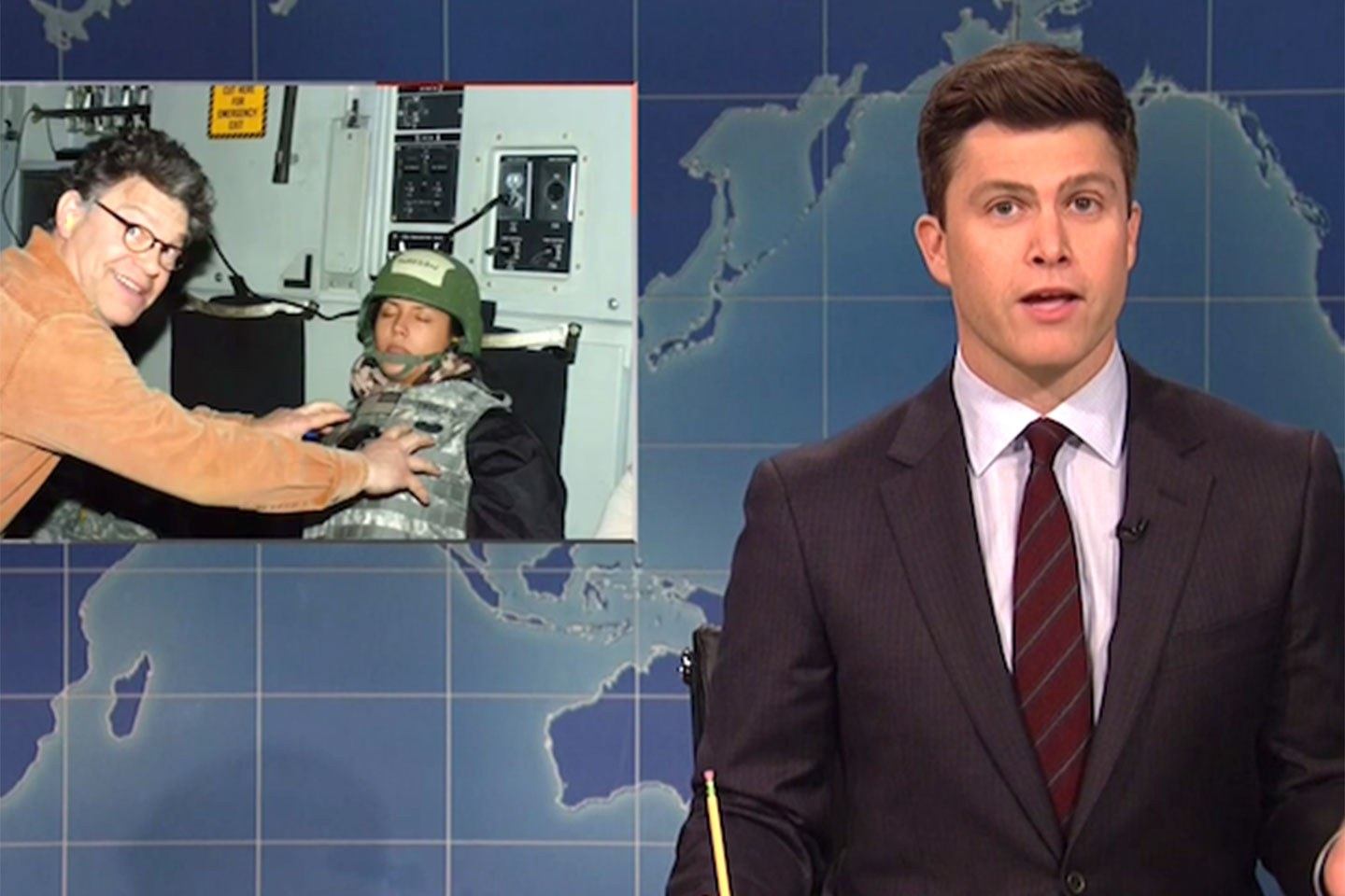 """Colin Jost of Saturday Night Live also addressed Al Franken, a current senator and former fellow SNL cast member, who has joined the mass of men accused of gross sexual behavior. He opened the most recent Thanksgiving episode saying """"There's so much to be thankful for this year, unless you're a human woman."""" Jost continued his segment, the weekend Update, by continuing commentary as this picture flashed on the screen. """"Sure, this photo was taken before Franken ran for office, but it was also taken after he was a sophomore in high school,"""" Jost joked. """"It's hard to be like, 'Come on, he didn't know any better, he was only 55.'"""