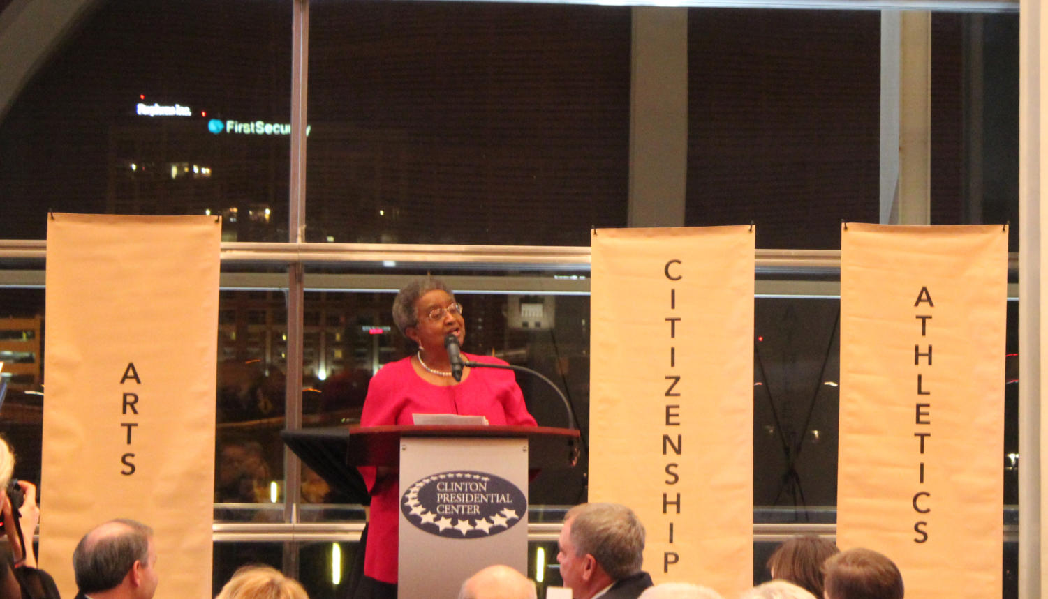 Dr. Sybill Jordan Hampton addresses the Tiger Foundation after she is honored at the Awards of Excellence Dinner on Wednesday, December 6th. Hampton was the first African American to graduate from Central after attending all 3 years of school. At one of Hampton's high school reunions, she won the award for being the most educated. (Photo by Fran Delacey)