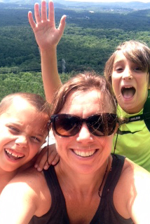 Stacey Mitchell and her sons Gus and Leaf enjoy a weekend hike at Petit Jean Mountain. (photo courtesy of Stacey Mitchell)