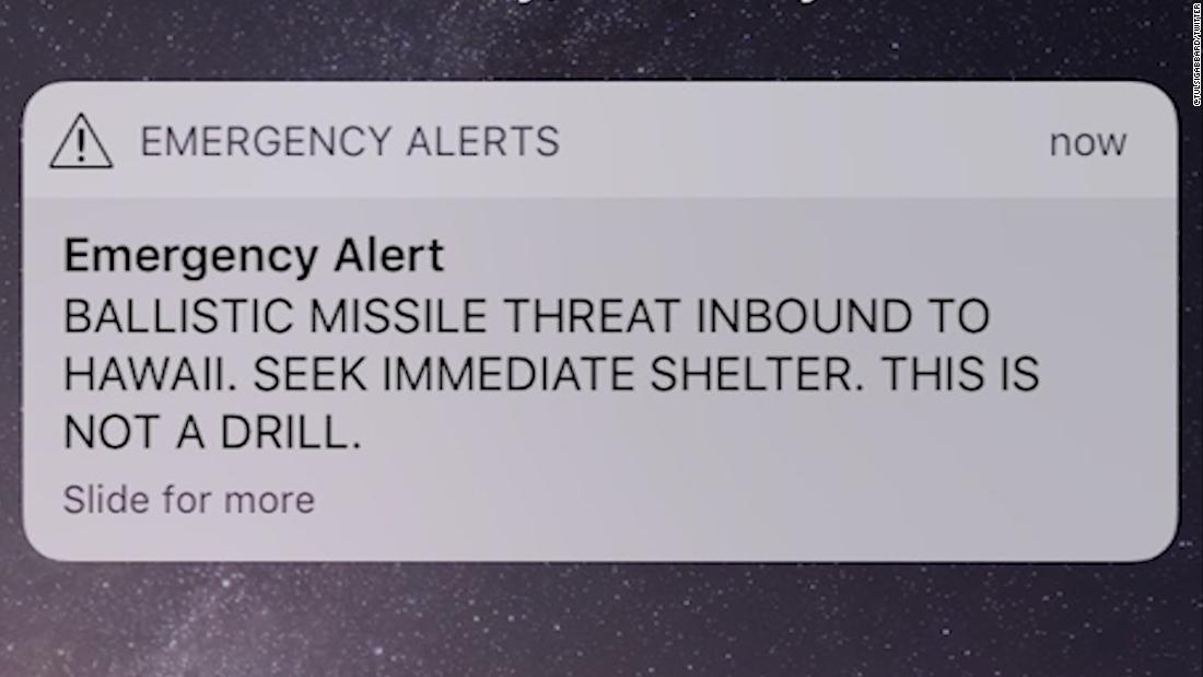 This is the text that went out to all cell phones, TV screens, and laptops on January 13. It took the Hawaiian government 38 minutes to correct the mistake and sent out another alert informing citizens that there was not a missile headed to Hawaii. (Picture courtesy of CNN)
