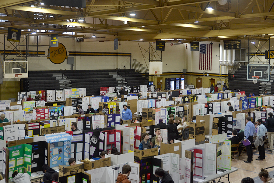 As Science Fair takes over the gym, participants prepare to present their projects to the judges (photo by Annie Simon).