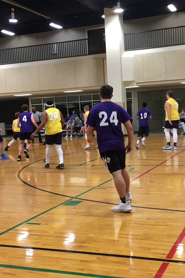 The yellow team prepares to defend against the purple team. (Photo by Annalise Novicky)