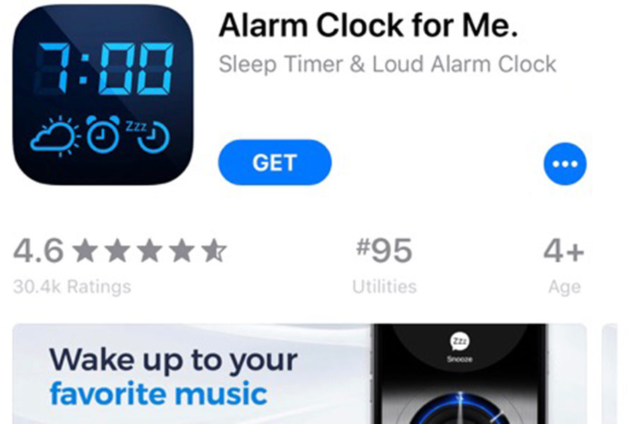 Alarm+Clock+for+Me+allows+users+to+pick+their+favorite+songs+as+their+alarm.+Fade+in+and+fade+out+features+eliminate+the+feeling+of+being+suddenly+awoken.+While+snooze+options+can+be+set%2C+there+are+also+options+to+prevent+users+from+sleeping+too+late.+Features+requiring+users+to+shake+the+phone+or+solve+a+simple+math+problem+keep+oversleeping+to+a+minimum.+%28photo+by+Mollygrace+Harrell%29