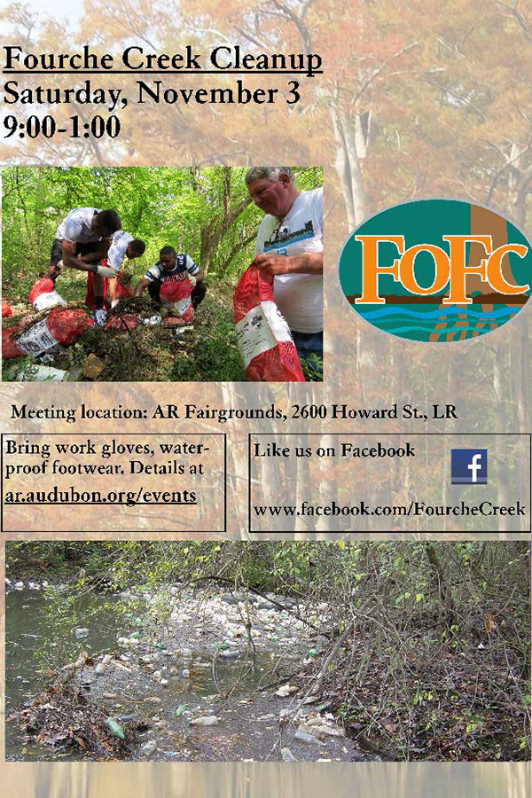 Students can contact event coordinator Norm Berner at (501)244-2229 or fofcinfo@gmail.com if they are interested in volunteering at the Fourche Creek Cleanup Saturday, November 3. (photo courtesy of Keep Arkansas Beautiful)