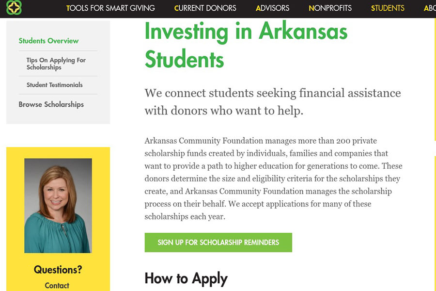 Arkansas Community Foundation Scholarships are broken down by interest area, from agriculture and arts to pre-med. The group also breaks down available scholarships by region. Our school falls in the central region of Arkansas for scholarships. (photo by Lola Simmons)