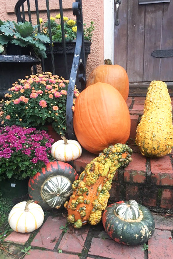 Pumpkins and gourds are the perfect festive decoration for you porch steps. (photo by Sarah Gornatti)