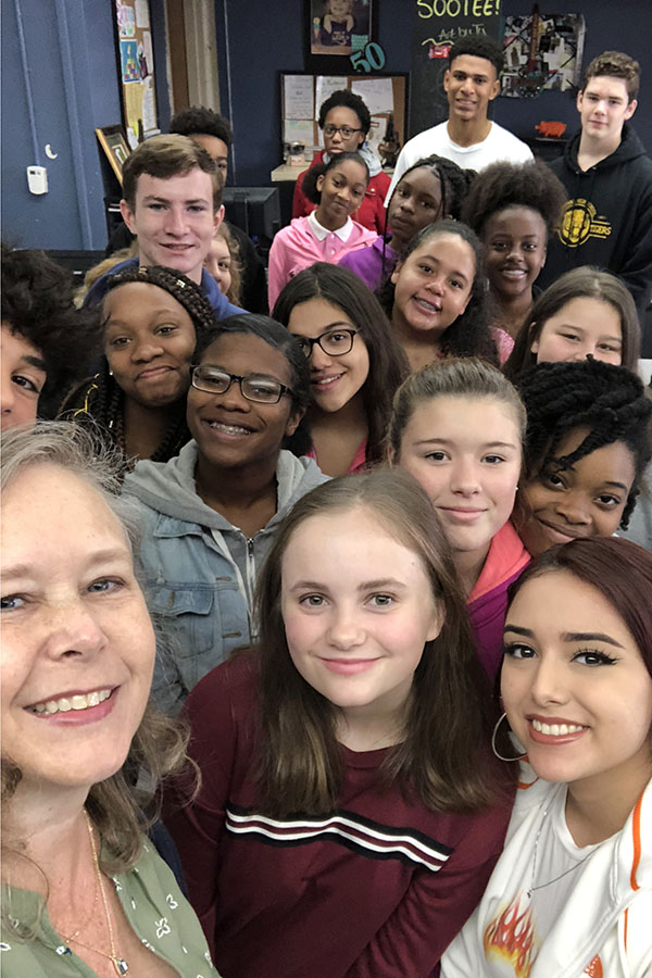 At the beginning of each school year, physical science teacher Kim Burleson snaps a selfie with each of her ninth grade classes, showing her love for all of her students. (photo courtesy of Kim Burleson)