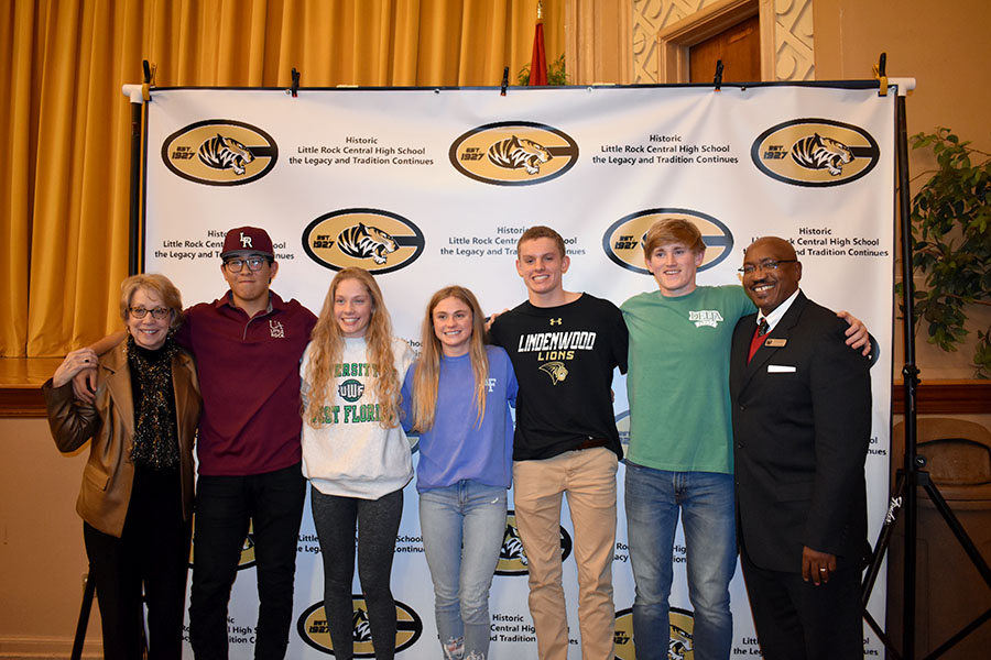 Principal Nancy Rousseu and Interim Superindendent Marvin Burton congratulate all the signees on their accomplishment to further their education and their athletic careers. (photo by Parker Gunn)