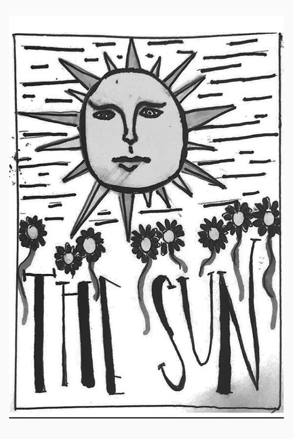 """The Sun """"The Sun"""" is one of the most warm, positive cards in the deck, and represents a steady, excellent relationship in your future. Whether your own relationship grows more powerful, or whether you find a new love, this card shows that you have great things to look forward to in the future. Your future, like the sun, is bright! (art by Emily Low)"""
