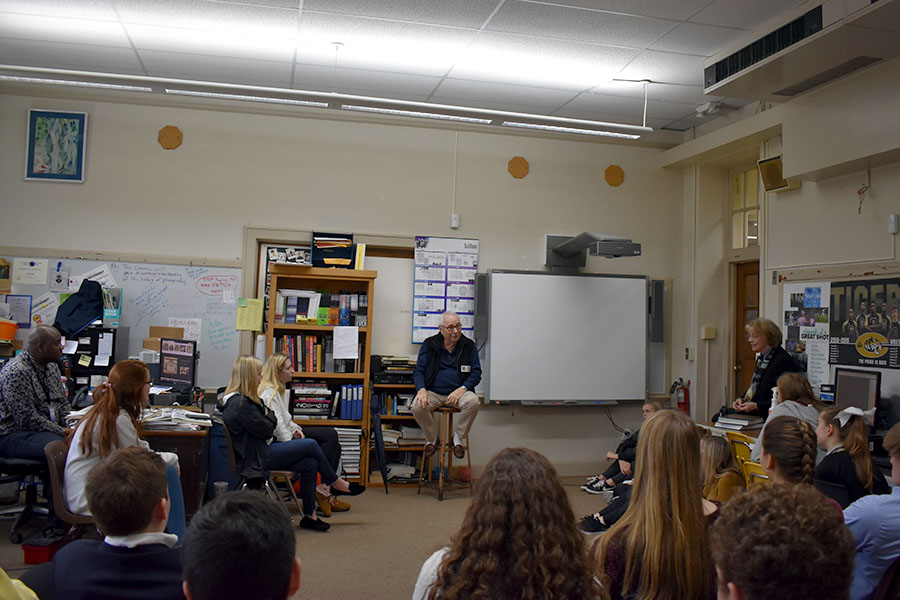 David Scruggs visits with the journalism department at Central on Feb. 22 to retell the experiences he went through during Central's lost school year of 1958-59. (photo by Mollygrace Harrell)