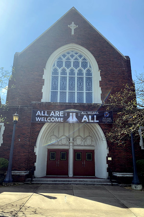 """The Pulaski Heights United Methodist Church expresses to the community its acceptance of LGTBQ+ with a sign that reads, """"All are welcome,"""" and, """"All means all."""" This methodist church, located in Hillcrest, has a large congregation of over 4,000 members. (photo by Lily Ryall)"""