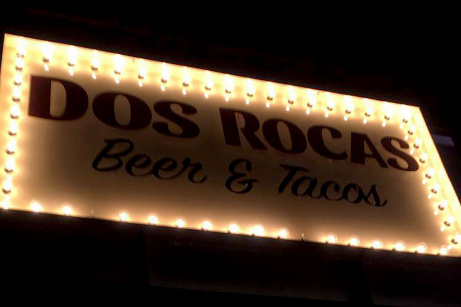 The storefront of the restaurant Dos Rocas located on South on Main. (photo by Casey Carter)