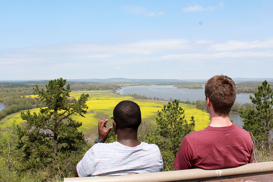 Seniors+Jeremiah+Williams+and+Evan+Hankins-Hull+enjoys+the+view+from+the+top+of+The+Quarry+Trail+which+overlooks+the+Maumelle+River.+%28photo+by+Lola+Simmons%29%0A