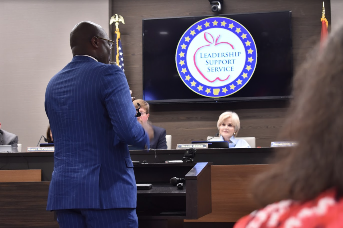 """Little Rock Mayor Frank Scott offers his public comment on the proposed motion to reconstitute the Little Rock School District. """"Never before have you seen a city this engaged for its school district. For our city to be the true catalyst of the new South, we have to have educational achievement and diversity in the marketplace,"""
