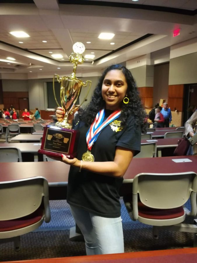 Senior+Medha+Guribelli+wins+first+place+in+State+Finals+for+Science+Olympiad+%28photo+courtesy+of+Medha+Guribelli%29.+
