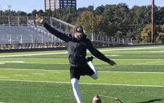 Wikoff practices his kicking to prepare for the following season.