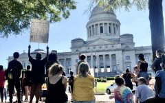 Protesters line the streets in front of the Arkansas Capitol building on June 6 in support of George Floyd and other victims of police violence. The protest lasted several hours and was entirely peaceful, with a 9-minute silent vigil followed by speeches by Black community leaders.