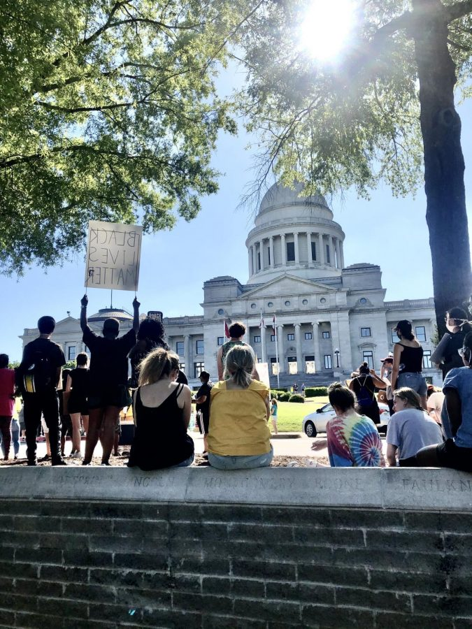 Protesters+line+the+streets+in+front+of+the+Arkansas+Capitol+building+on+June+6+in+support+of+George+Floyd+and+other+victims+of+police+violence.+The+protest+lasted+several+hours+and+was+entirely+peaceful%2C+with+a+9-minute+silent+vigil+followed+by+speeches+by+Black+community+leaders.