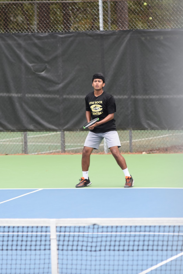 Ready. Junior Yash Gokarakonda jumps from foot to foot waiting for his opponent to hit the ball back to him. He finished 4th at Conference.