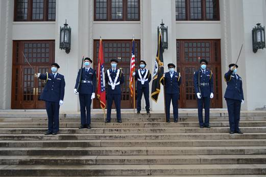 Members of the Central AFJROTC chapter stand in uniform. From left to right, Cadet Bil Le, Cadet Devon Straw, Cadet Leighton Rainbolt, Cadet Angelece Curry, Cadet Cormya Murray, Cadet Michael White, Cadet Jaxon Dale.